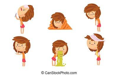 sintomi, femmina, collezione, freddo, detenere, ragazza, differente, temperatura, sofferenza, malattia, persona, vomito, vettore, mal di testa, illustrazione, eruzione, alto, debolezza