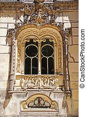 sintra, manueline, estilo, portugal, ventana