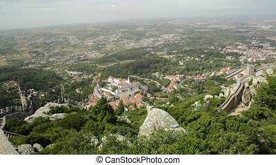 Sintra National Palace - Aerial view of scenic National...