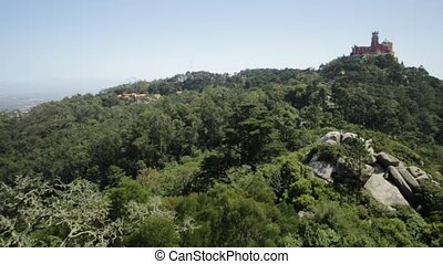 Sintra Pena Palace - Aerial view of colorful Pena Palace on...