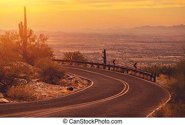 sinuosità, arizona, strada montagna
