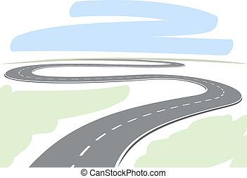 sinuosità, astratto, disegno, autostrada