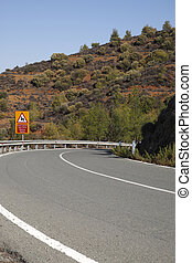 sinuosità, cipro, strada, montagna