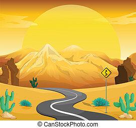 sinuosità, deserto, strada