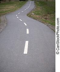 sinuosità, lungo, strada asfaltata