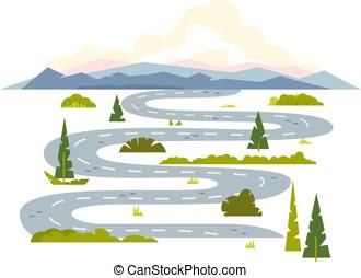 sinuosità, strada lunga, paesaggio