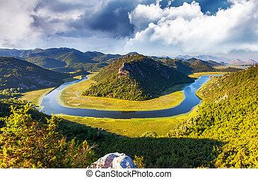 river - Sinuous river flowing through mountains. Rijeka...