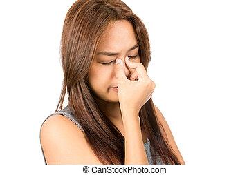 Sinus Congestion Headache Asian Woman Discomfort