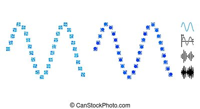 sinusoid, ícone, círculos, composição