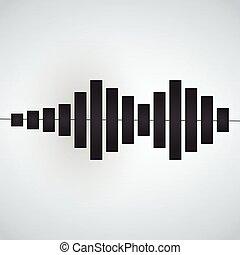 Sinusoid icon, audio signal minimalism