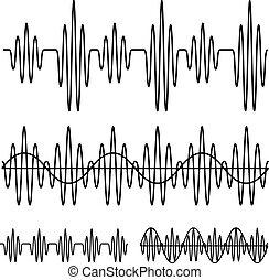 sinusoidalný, zvuková vlna, čerň, řádka