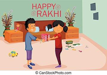siostra, bandhan, rakhi, brat, raksha, przywiązywanie