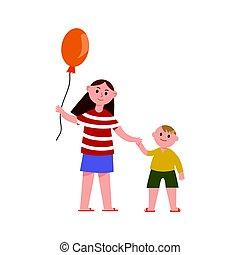 siostra, bracia, jej, balloon, mały, ilustracja, ręka, wektor, litery, dzierżawa, rysunek