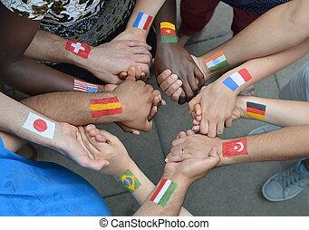 siostry, międzynarodowe bandery, bracia