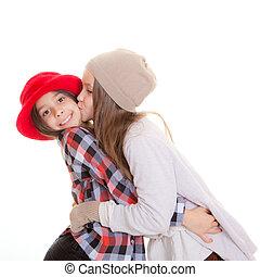 siostry, przyjaźń, albo, pocałunek