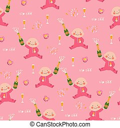Sip and See baby shower seamless vector pattern - Sip and ...