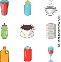 Sip icons set, cartoon style - Sip icons set. Cartoon set of...