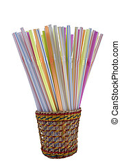 sippers in colorful wicker isolated on white background