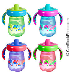 A set of colorful sippy cups isolated on white.