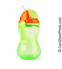 Plastic sippy cup, green with orange cover, isolated on white background
