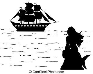 sirène, ancien, silhouette, fantasme, bateau, mythologie, sirène