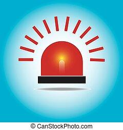 sirène, light., clignotant, urgence, rouges