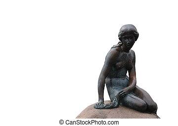 sirène, peu, copenhage, isolé, statue