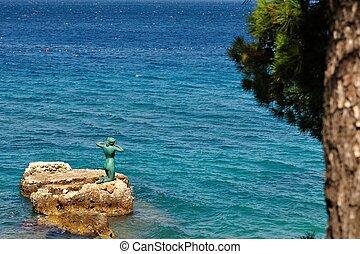 sirène, statue, podgora