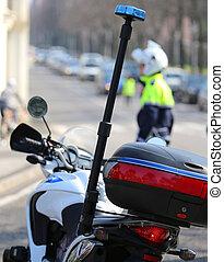 siréna, kontrolovat, kupčit, motocykl, blýskání, důstojník