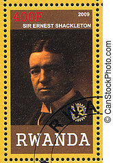 sir Ernest Shackleton - RWANDA - CIRCA 2009: stamp printed...