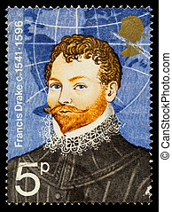 UNITED KINGDOM - CIRCA 1973: A used postage stamp printed in Britain showing the Famous British Explorer Sir Francis Drake, circa 1973