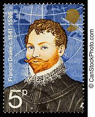 sir francis kaczor, sławny, badacz, znaczek pocztowy