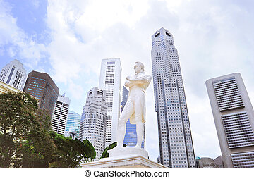 Sir Tomas Stamford Raffles monument - Statue of Sir Tomas...