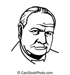 Sir Winston Churchill - A vector, black and white...