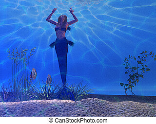 SIREN - A beautiful mermaid feels the power of light rays...