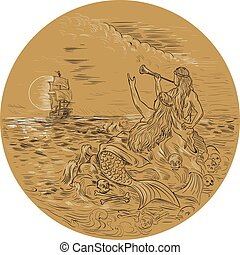 Siren On Island Waving Calling Tall Ship Circle Drawing -...