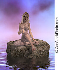 Siren Sitting On A Rock - One sire sitting on a rock in the...