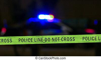 sirena, carro polícia, defocused, fita, limite