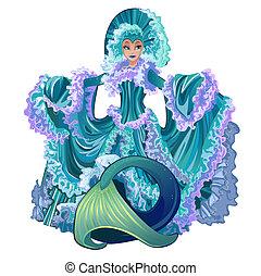 sirena, con, lujoso, vestido, aislado, blanco, fondo., hermoso, submarino, fairytale, caracteres, con, el, cuerpo humano, y, pez, tail., vector, caricatura, primer plano, illustration.