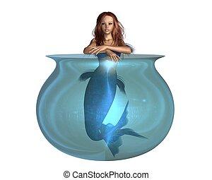 sirena, en, un, tazón de peces dorados