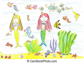 sirena, estrellas de mar, dibujo, pez, tortuga
