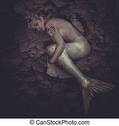 sirena, intrappolato, in, uno, mare, di, ??mud, concetto, fantasia, fish, woma