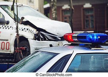 sirena, ligado, a, telhado, de, um, carro polícia