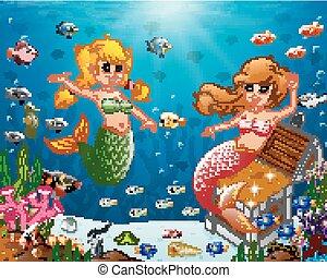 sirena, mare, illustrazione, sotto