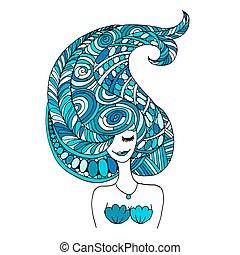 sirena, retrato, zentangle, bosquejo, para, su, diseño