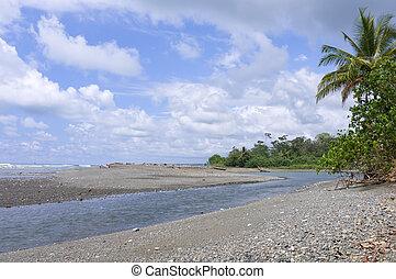 Sirena River and Pacific Ocean at Corcovado - Sirena River...