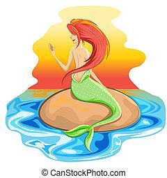 sirene, mythologisch, nixe, kreatur