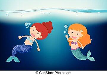 sirene, nuoto, due, mare, sotto