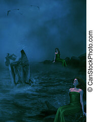 Sirens On Rocks - Two Sires sitting on rocks on the beach