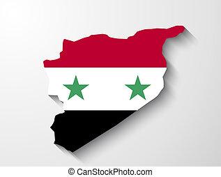 siria, mappa, con, uggia, effetto, presentazione